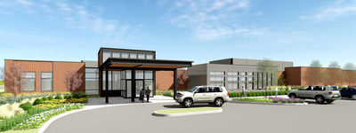 Architectural rendering of the future inpatient rehabilitation hospital being built by Encompass Health and Saint Alphonsus
