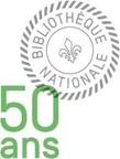 Logo : Bibliothèque Nationale 50 ans (Groupe CNW/Bibliothèque et Archives nationales du Québec)