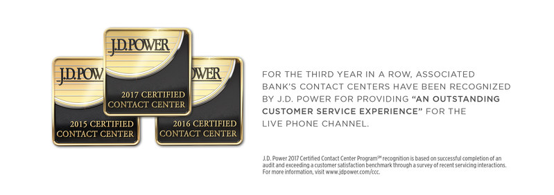 """For three years in a row, Associated Bank's contact centers have been recognized by J.D. Power for providing """"An Outstanding Customer Service Experience"""" for the live phone channel."""