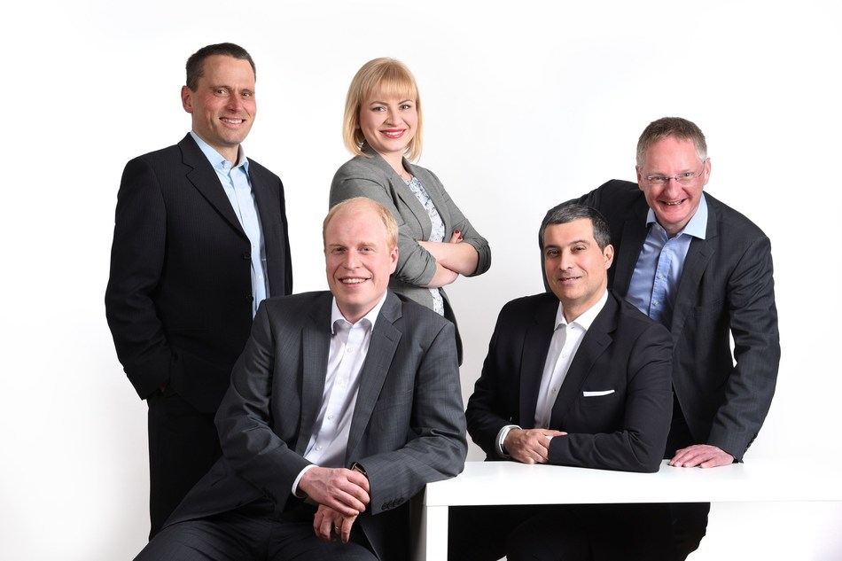 Team of Namirial Deutschland GmbH: Left to right - back: Ralph Maute (Principal Solution Consultant), Irina Kulakova (Senior Solution Consultant), Joerg Lenz (Director Marketing and Public Relations Namirial Group); Front: Johannes Leser (Managing Director Namirial Deutschland GmbH) and Antonio Taurisano (Managing Director Namirial Deutschland GmbH and General Manager for Digital Transaction Management Namirial Group) (PRNewsfoto/Namirial)