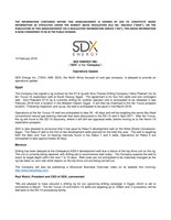 "SDX ENERGY INC. (""SDX"" or the ""Company"") - Operations Update (CNW Group/SDX Energy Inc.)"