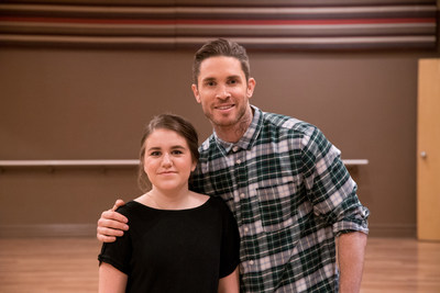 Blake McGrath, renowned Canadian choreographer, dancer and recording artist,  helps Alyssa give her dance troupe a surprise this Valentine's Day. (CNW Group/WESTJET, an Alberta Partnership)