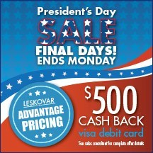 Car buyers may be able to get a $500 Visa Debit Card with the purchase of a used vehicle during the Leskovar President's Day sale.