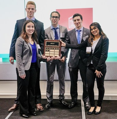 Left to right: Nicholas Pelchat, Natalie Dokmajian, James Beaudoin, Christian Cotroneo and Aamena Chatoo (CNW Group/CFA Society Toronto)