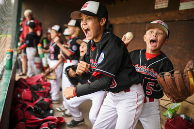 Tijana Martin, a reporter/photographer with the Lethbridge Herald in Alberta, is the 2018 Tom Hanson Photojournalism Award winner. Her submission included this image of Will Istakahashi, centre, and Ty Mabin of the Lethbridge AAA Southwest Allstars during the Minor AAA Prairie Championships in Lethbridge on Aug. 4, 2017. (LETHBRIDGE HERALD/Tijana Martin) (CNW Group/Canadian Journalism Foundation)