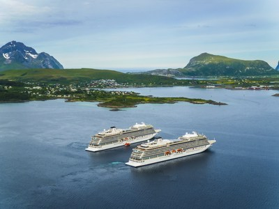 The 930-guest sister ships Viking Sky and Viking Sea, pictured near Leknes, Norway. Viking dominated the 2018 Cruise Critic Cruisers' Choice Awards with the company's ocean ships taking top honors in 10 categories, including