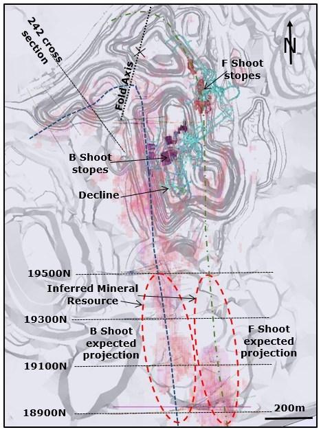Plan view of Wassa Underground drilling targets (CNW Group/Golden Star Resources Ltd.)