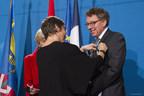 Saint-Pierre et Miquelon, le 2 février 2018. – La ministre des Outre-mer, Mme Annick Girardin, et le ministre délégué aux Affaires maritimes, M. Jean D'Amour. (Groupe CNW/Cabinet du ministre délégué aux Affaires maritimes)