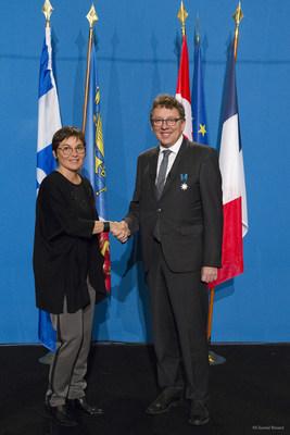 Saint-Pierre et Miquelon, le 2 février 2018. - La ministre des Outre-mer, Mme Annick Girardin, et le ministre délégué aux Affaires maritimes, M. Jean D'Amour. (Groupe CNW/Cabinet du ministre délégué aux Affaires maritimes)