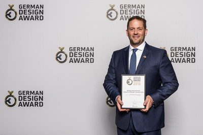 Richter Studios CEO Jeremy Richter accepting the 2018 German Design Award in Frankfurt, Germany.