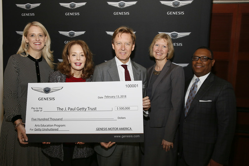 Genesis CSR at the Genesis Open: A Commitment to Education With the Arts as Genesis Motor America presents The J. Paul Getty Museum with a $500,000 Arts Education Grant. Pictured (left to right): First attached (GenesisCSR-02): Kate Fabian, Senior Manager –  Head of Marketing, Genesis Motor America; Maria Hummer-Tuttle, Chair – The J. Paul Getty Board of Trustees; Timothy Potts – Director, The J. Paul Getty Museum; Lisa Clements – Associate Director, Education, Public Programs and Interpretive Content at The J .Paul Getty Museum; Zafar Brooks – Director of Corporate Social Responsibility and Diversity Inclusion at Genesis Motor America
