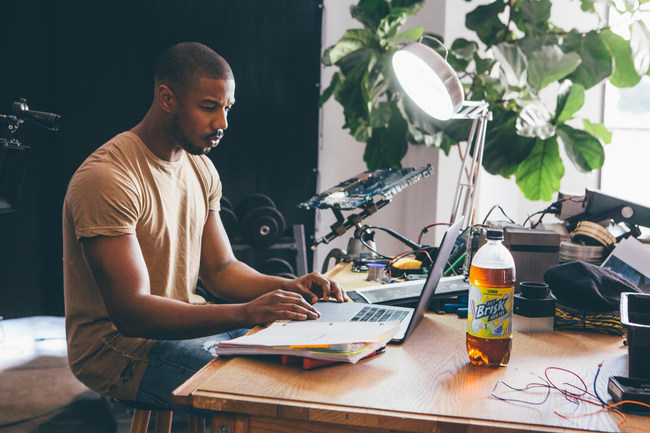 Marvel Studios' Black Panther star Michael B. Jordan behind the scenes with Brisk directing the brand's Hidden Hustle video.