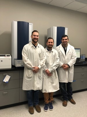 Figure 3: Wesley Thompson, Daniel Barket and Benjamin Bastin, microbiologists at Q Laboratories with their MALDI Biotyper systems