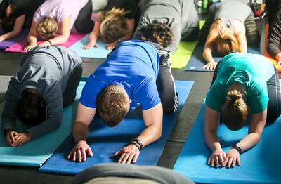 Wounded veterans recently gathered at Wounded Warrior Project headquarters to incorporate yoga into their healthy workout routine.