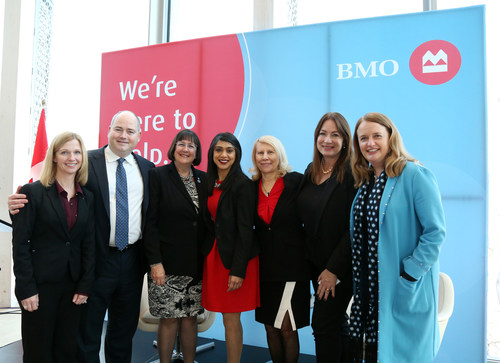 From left: Lisa Milburn, CMO BMO Wealth Management & Executive Sponsor BMO for Women; Andrew Irvine, Head of BMO Customer Solutions, Canadian Personal & Business Banking; Susan Brown, BMO SVP, Alberta & NWT; Hon. Bardish Chagger, Minister of Small Business & Tourism, Government of Canada; Clare Beckton, Executive in Residence CREWW, Carleton University; Janice McDonald, President, The Beacon Agency; Catherine Roche, BMO Head of Marketing & Strategy. (CNW Group/BMO Financial Group)