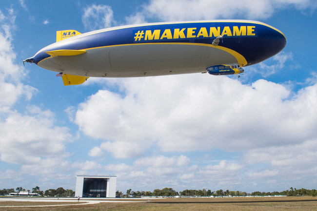 """In celebration of a new commercial featuring Dale Earnhardt Jr., Goodyear created a special design on its iconic blimp, temporarily replacing """"Goodyear"""" with """"#MakeAName"""" on the Florida-based Wingfoot One."""