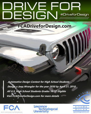 The Drive for Design contest challenges all U.S. high school students in grades 10-12 to design a Jeep® Wrangler for the year 2030.