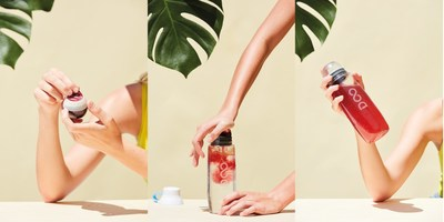 "With Drinkfinity, people can ""Peel, Pop and Shake"" to create their own personalized beverages by combining dry and liquid ingredients in a portable Pod with water in a reusable Vessel. (PRNewsfoto/Drinkfinity)"
