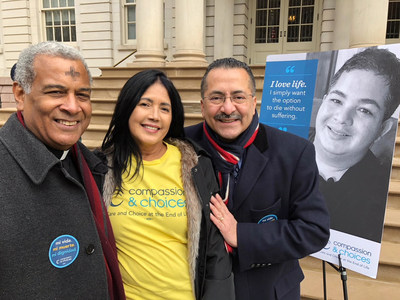 New York Medical Aid in Dying Act supporters Father Luis Barrios, Nilsa Cendeno, Guillermo Chacon and photo of Nilsa's deceased son, Miguel Carrasquillo, who needlessly died in agony of brain cancer because he didn't have option of medical aid in dying that he wanted.