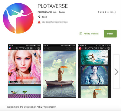 Aplicativo Plotaverse para Android no Google Play (PRNewsfoto/Plotagraph, Inc.)