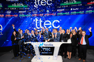 Customers, executives and employees from across TTEC celebrate the brand launch while Ken Tuchman, Chairman and CEO, rings the Nasdaq Closing Bell on January 9, 2018.