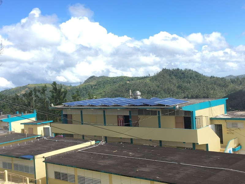 The solar array for the sonnen microgrid at S.U. Matrullas, a K through 9 school that educates over 150 students in the remote town of Orocovis, Puerto Rico