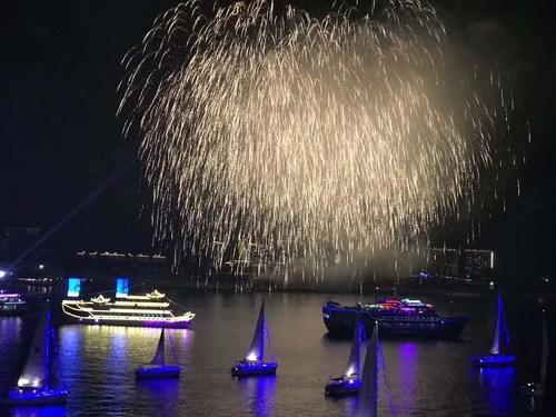 Chinese New Year Fesitval Firework Above Sanya Phinex Island
