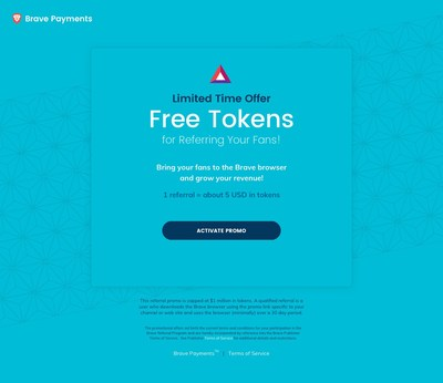 Brave launches million dollar referral program supporting publishers and YouTube creators with crypto-tokens.