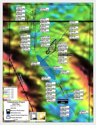 Figure 1: Locality plan of the Farabantourou Prospects with historic drill results (CNW Group/Desert Gold Ventures Inc.)