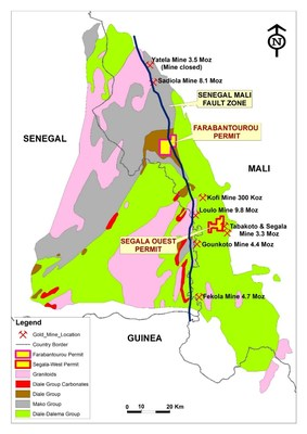 *Figure 2: Location of Desert Gold's Segala Ouest and Farabantourou exploration permits in western Mali (CNW Group/Desert Gold Ventures Inc.)