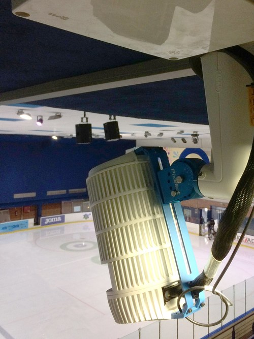 The Pixellot camera overlooks the Txuri Urdin ice rink in San Sebastian, Spain. The automated sports production system delivers live, high-quality event coverage without production teams or camera operators. 2,000+ Pixellot systems stream 16,000+ hours of live sports monthly (PRNewsfoto/Pixellot)
