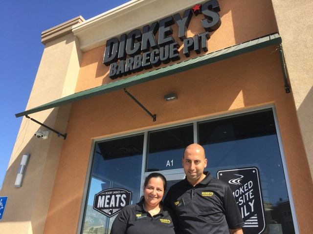 Local Dickey's franchisees Mike and Sylvia Gebrael open their first Dickey's Barbecue Pit location in San Bernardino.
