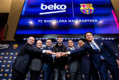 """Josep Maria Bartomeu, President of FC Barcelona adds: """"Today we are celebrating and formalising a strategic partnership agreement with a global brand and Europe's leading home appliances brand active in 5 continents, in more than 140 countries, Beko.  We are united by a close and trusting relationship that began in the summer of 2014. Over this period, our club's sporting successes and global projection have also been associated to the Beko image. As a result, Beko becomes a Main Partner alongside Rakuten and Nike. This partnership with a leading brand in their field is fundamental in remaining at the forefront of the elite in world football, while we also tackle the development of our major equity project, the Espai Barça and the strategic projects that will strengthen our position and singularity on a worldwide level."""" (PRNewsfoto/Beko)"""