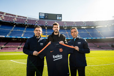 """Beko 'Eat Like A Pro' ambassador and FC Barcelona star Gerard Piqué comments: """"I am thrilled to be the ambassador for such an important and ground-breaking campaign. As I started to compete from such an early age, I grew to appreciate the importance of healthy eating and nutrition and now as a father of two, it feels even more important than ever before. The global statistics surrounding childhood obesity are shocking and are not showing any signs of improvement, which is why I am proud to be working with Beko and my club to help tackle this global issue."""" (PRNewsfoto/Beko)"""