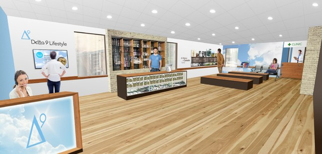 Artist's rendition of a Delta 9 Lifestyles retail store and clinic. The first Delta 9 clinic is already open and operating in Winnipeg, and would become the company's first retail store upon conclusion of a formal agreement with the Province of Manitoba. (CNW Group/Delta 9 Cannabis Inc.)