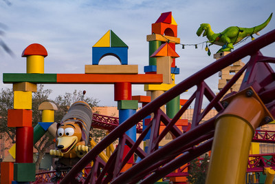 Toy  Story  Land  at  Walt  Disney  World  Resort  in  Florida  opens  June  30,  2018.  Located  at  Disney's  Hollywood  Studios,  the  new  11-acre  Land  will  make  guests  feel  like  they  have  shrunk  to  the  size  of  a  toy  in  the  setting  of  Andy's  backyard.  Guests  will  whoosh  along  on  a  family-friendly  roller  coaster,  Slinky  Dog  Dash  (pictured  under  development),  take  a  spin  aboard  Alien  Swirling  Saucers  and  score  high  on  the  midway  at  Toy  Story  Mania!  (Matt  Stroshane,  photographer)