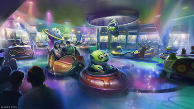 Disney's Hollywood Studios at Walt Disney World Resort in Florida will take guests to infinity and beyond when Toy Story Land opens June 30, 2018. This new 11-acre land will transport guests into the adventurous outdoors of Andy's backyard. Guests will think they've been shrunk to the size of Woody and Buzz as they are surrounded by oversized toys. Guests will whoosh along on a family-friendly roller coaster, Slinky Dog Dash, take a spin aboard Alien Swirling Saucers (pictured) and score high on the midway at the expanded Toy Story Mania! (Disney)