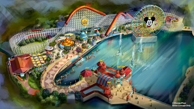 "Pixar Pier at Disney California Adventure park opens June 23, 2018, featuring the new Incredicoaster inspired by Disney•Pixar's ""The Incredibles."" This artist concept illustrates the four new neighborhoods that will represent beloved Pixar stories and the newly themed attractions that will be found throughout the permanent land of Pixar Pier. (Disney•Pixar)"