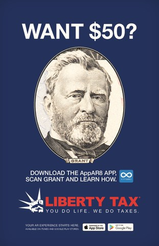 "Ulysses S. Grant Stars in Liberty Tax's Augmented Reality ""Send-a-Friend"" Promotion Launching on Presidents' Day"