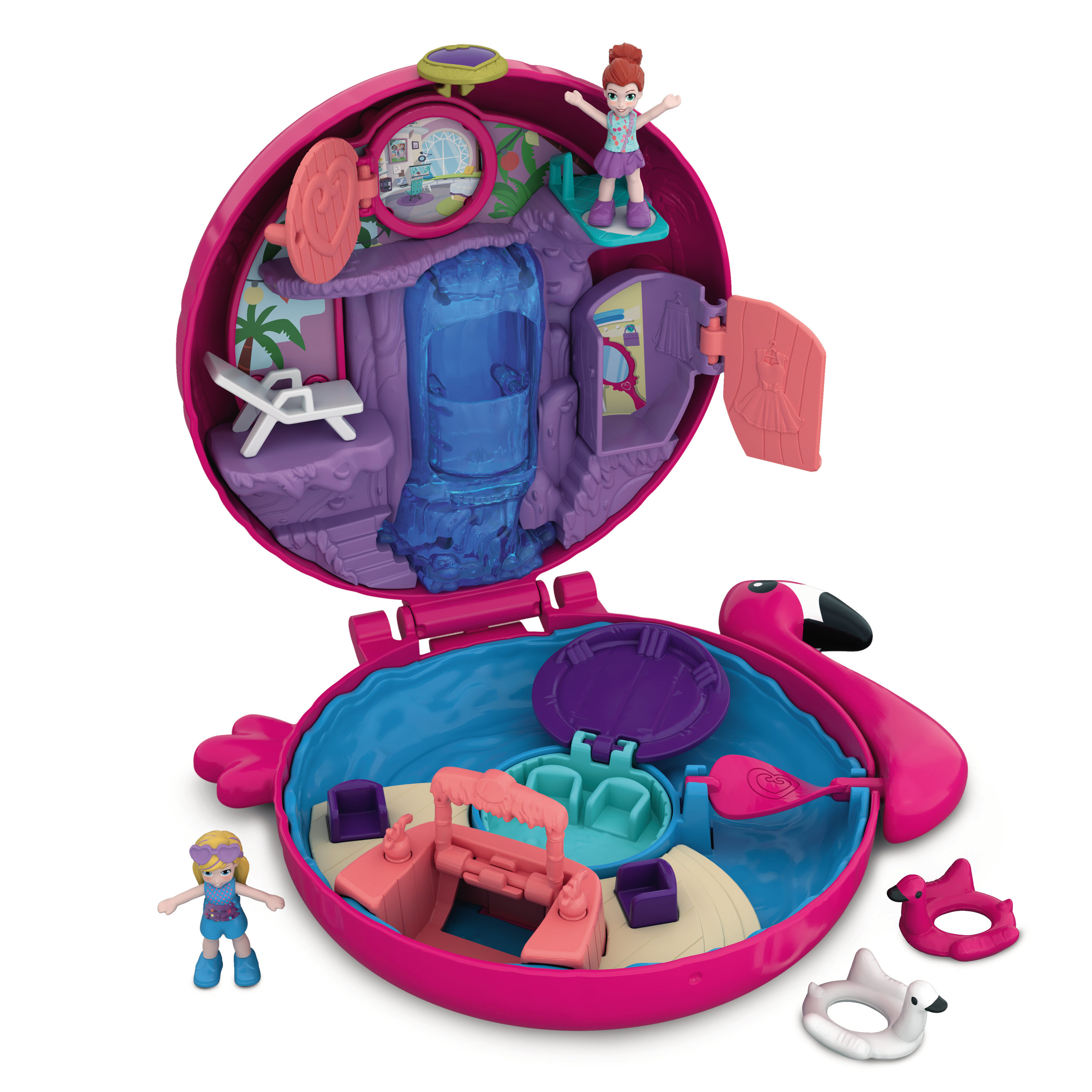 POLLY POCKET Tiny Places Camping World COMPACT PLAY SET Micro Girls Toys Doll