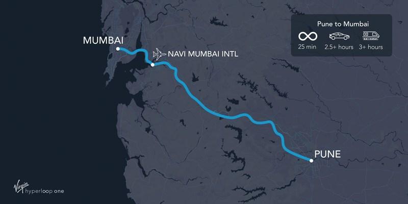 Pune to Mumbai Route Map (PRNewsfoto/Virgin Hyperloop One)