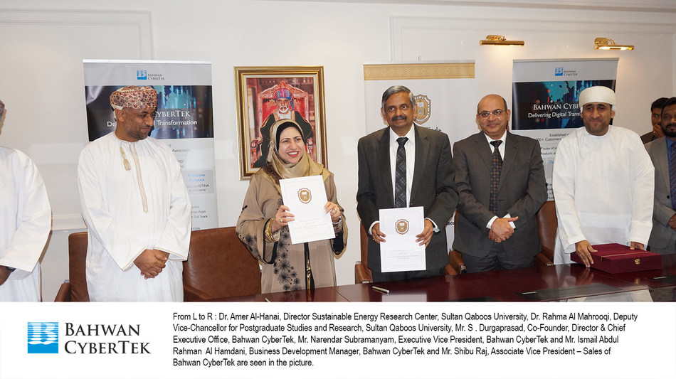 From L to R : Dr. Amer Al-Hanai, Director Sustainable Energy Research Center, Sultan Qaboos University, Dr. Rahma Al Mahrooqi, Deputy Vice-Chancellor for Postgraduate Studies and Research, Sultan Qaboos University, Mr. S . Durgaprasad, Co-Founder, Director & Chief Executive Office, Bahwan CyberTek, Mr. Narendar Subramanyam, Executive Vice President, Bahwan CyberTek and Mr. Ismail Abdul Rahman  Al Hamdani, Business Development Manager, Bahwan CyberTek and Mr. Shibu Raj, Associate Vice President...