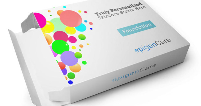 Concept of EpigenCare's skin DNA sample collection kit's retail box.