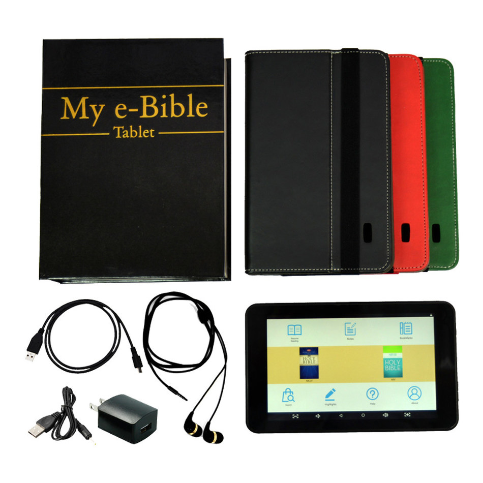Azpen's My e-Bible tablet allows users to read or listen to their Bible anytime, anywhere. Ideal for all age groups, the unit comes with two of the most popular Bible versions preloaded: the New King James Version (NKJV) and the New International Version (NIV).