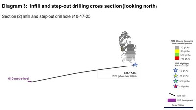 Diagram 3: Infill and step-out drilling cross section (looking north) (CNW Group/Rubicon Minerals Corporation)