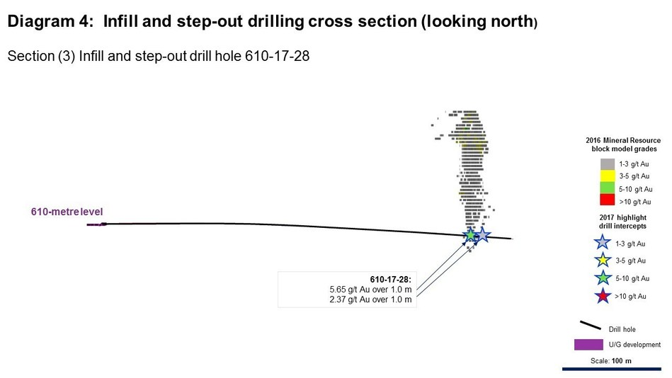 Diagram 4: Infill and step-out drilling cross section (looking north) (CNW Group/Rubicon Minerals Corporation)