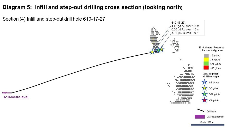 Diagram 5: Infill and step-out drilling cross section (looking north) (CNW Group/Rubicon Minerals Corporation)