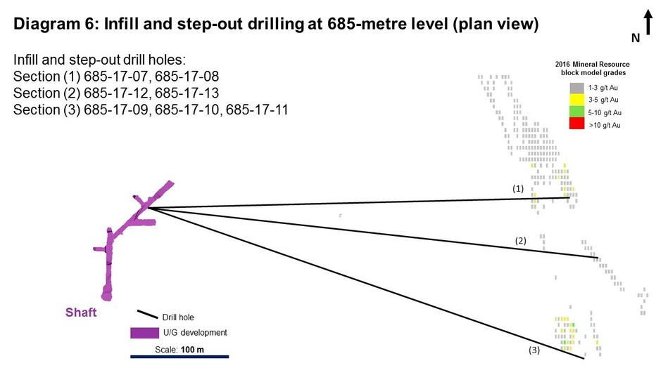 Diagram 6: Infill and step-out drilling at 685-metre level (plain view) (CNW Group/Rubicon Minerals Corporation)