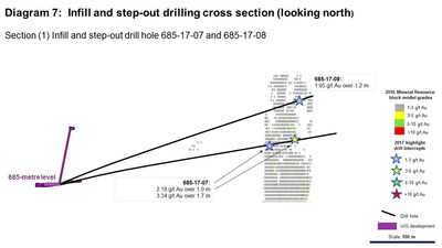 Diagram 7: Infill and step-out drilling cross section (looking north) (CNW Group/Rubicon Minerals Corporation)