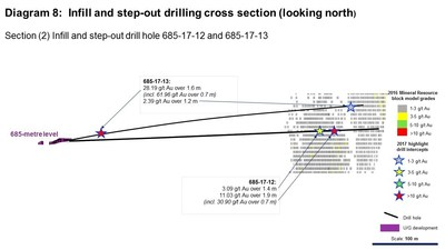 Diagram 8: Infill and step-out drilling cross section (looking north) (CNW Group/Rubicon Minerals Corporation)